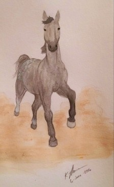 Quick Dapple Gray Horse Painting, Acrylic Paint, 6 June 2016