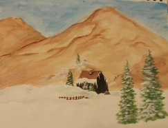 """Cabin in the Mountains,"" Acrylic Paint on Paper, Date Unknown"