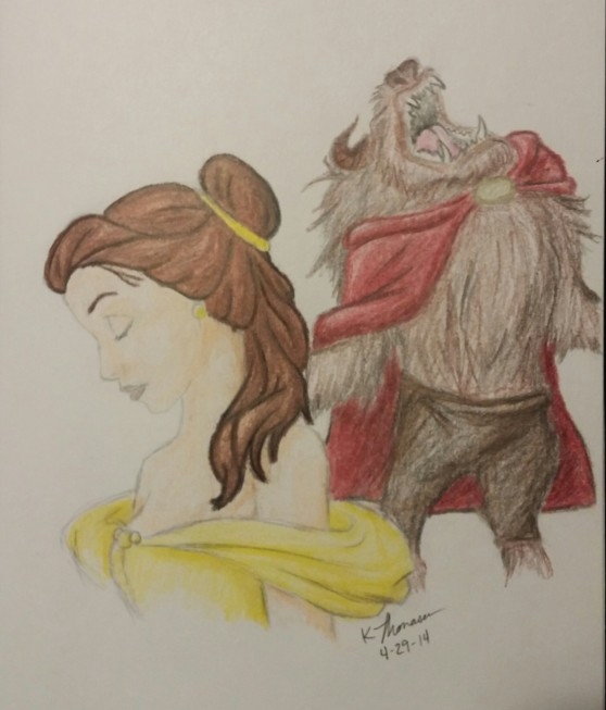 Belle and the Beast, Pencil on Paper, 29 April 2014