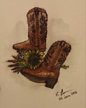 Cowgirl Boots, Fine-tipped marker and acrylic paint, 24 June 2016