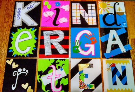 "This was done in high school for the kindergarten class at my school. For their graduation they did an acronym of the word ""kindergarten"" and I tried to make each letter represent the word it stood for."