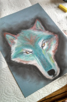 Pastel Wolf, Chalk on Paper, Date Unknown