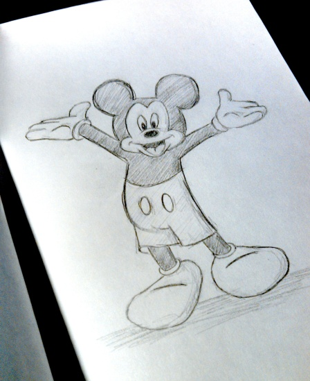 Mickey Mouse, Pencil on Paper, Date Unknown